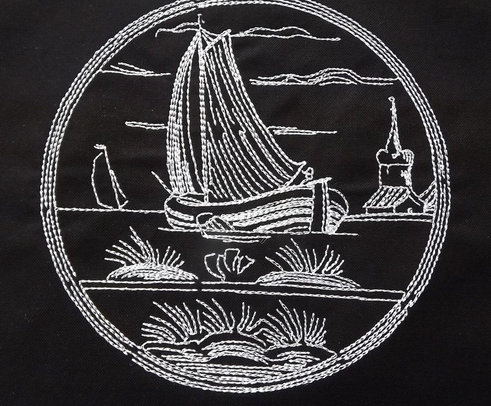 "5"" X 7"" ""Ships and Trailors""  design for quilt block Embroidered on black kona cotton"