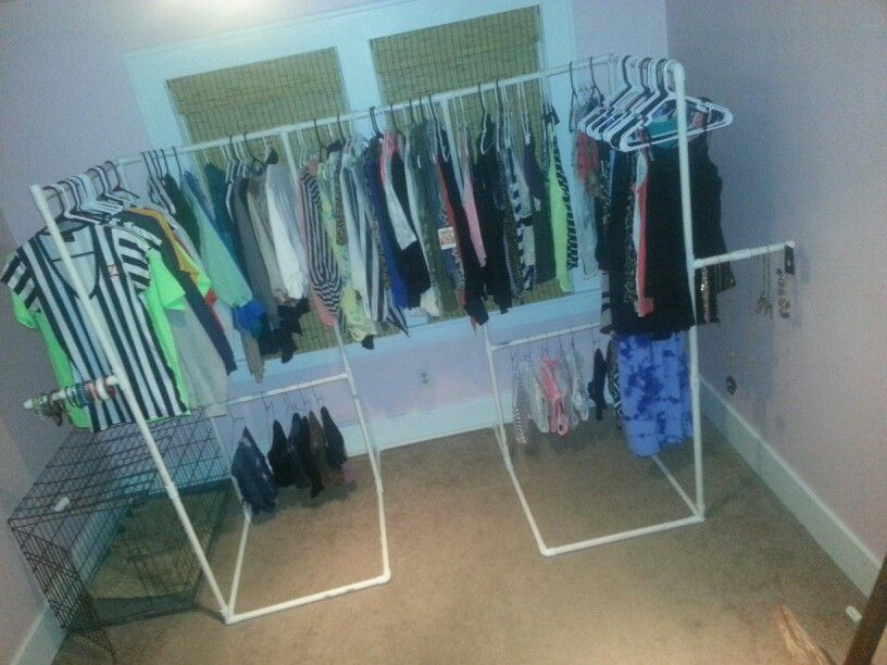 Diy closet made from pvc pipe. Cost $25 What I noticed is ...