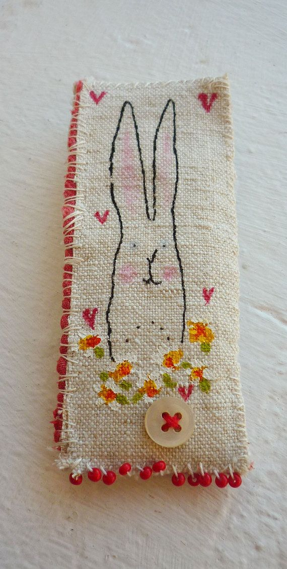 Screen printed and hand painted Bunny Brooch