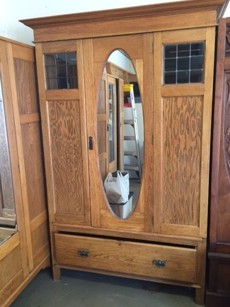Edwardian (1901-1910) Beautiful Antique Triple Wardrobe With Bevelled Mirror
