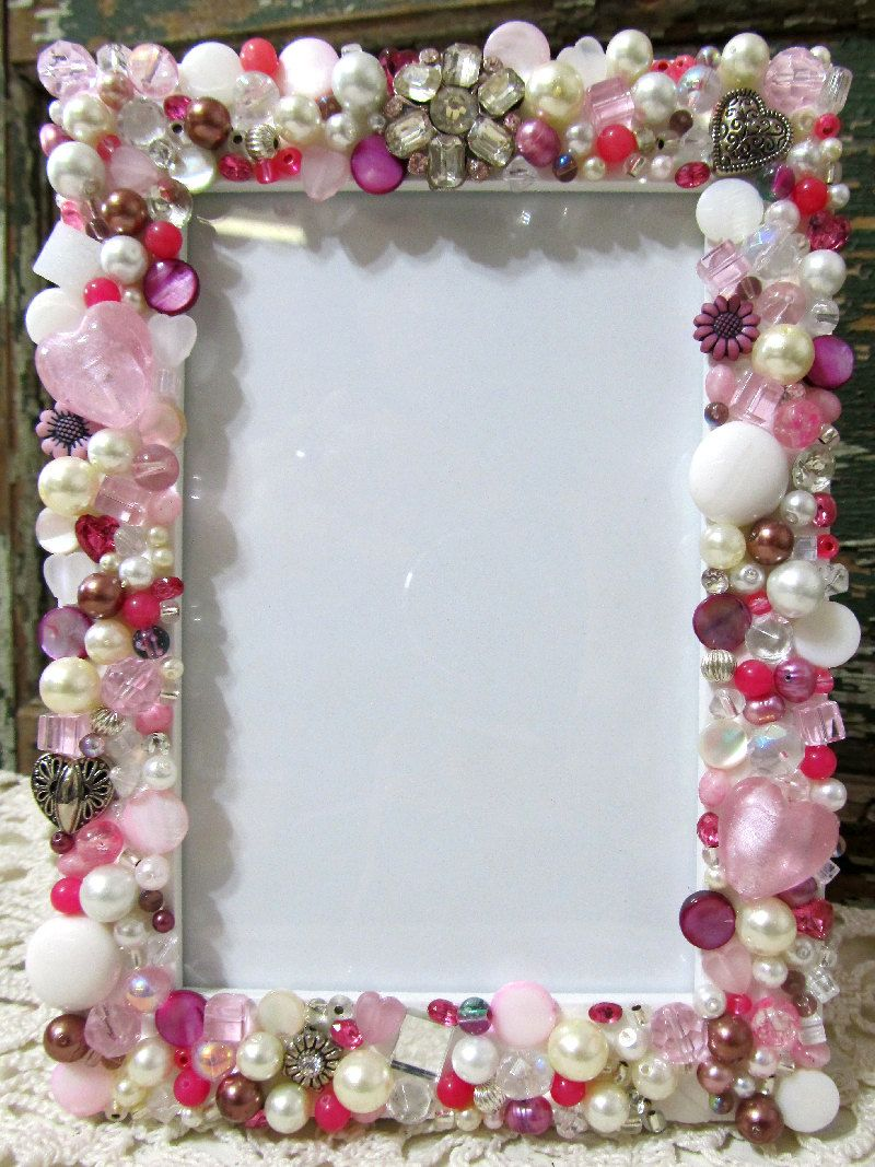 Mosaic Jeweled Picture Frame - Pink- Holds a 3 1/2 x 5 Photo. $48.00 ...
