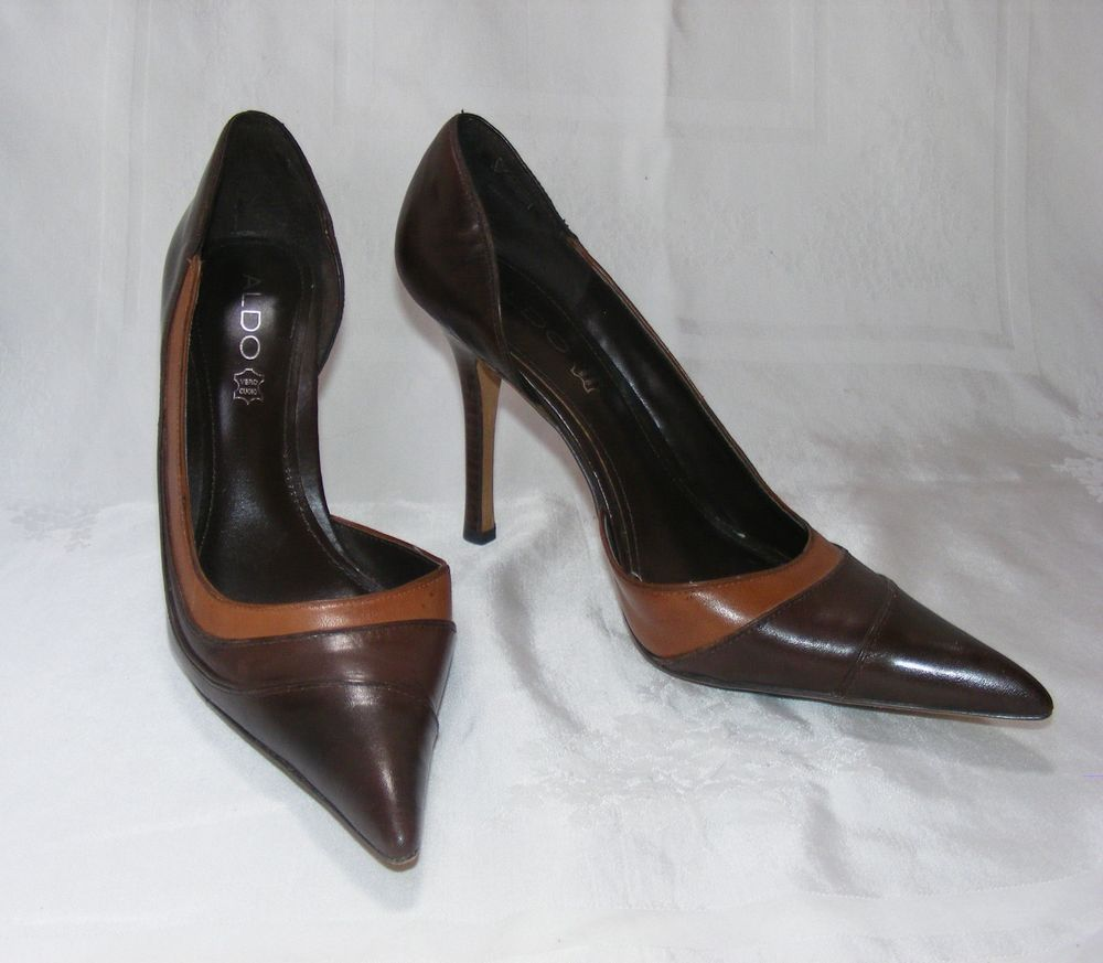 ALDO D'orsay, Brown Leather Gradient Pointy Toe Stacked Heel Stiletto, 38 US