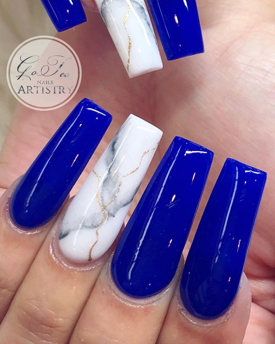 Royal Blue In 2020 Blue Acrylic Nails Fall Acrylic Nails Best Acrylic Nails