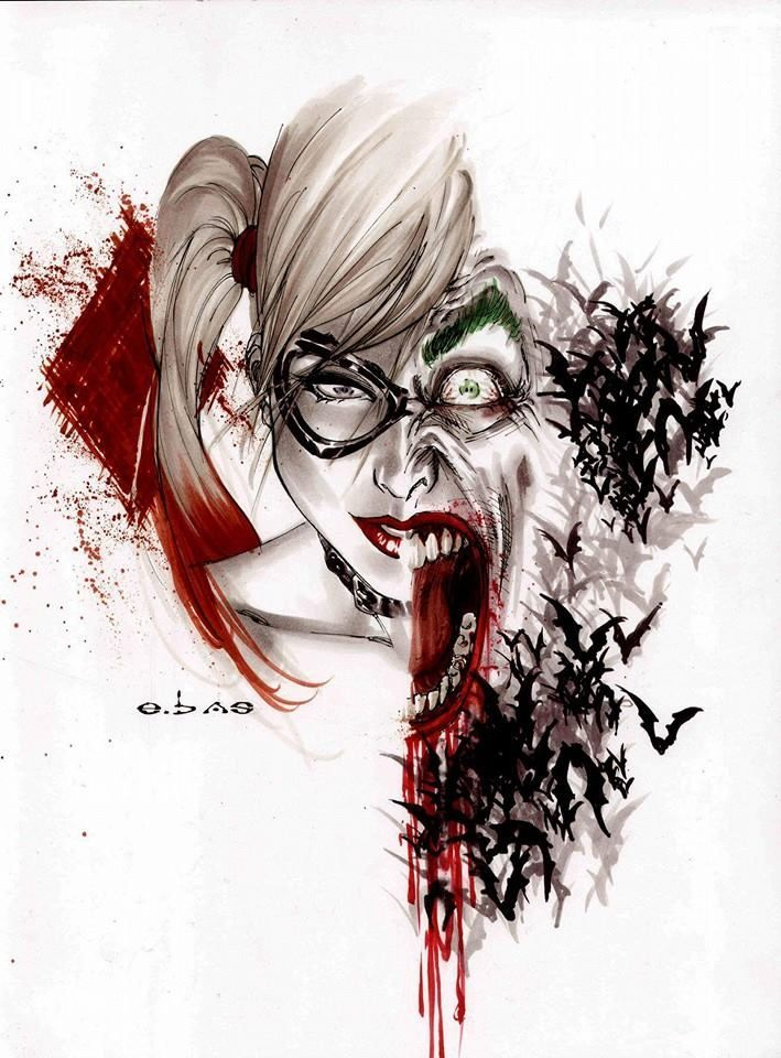 Psychotic Love Joker And Harley Quinn Tatoo Joker