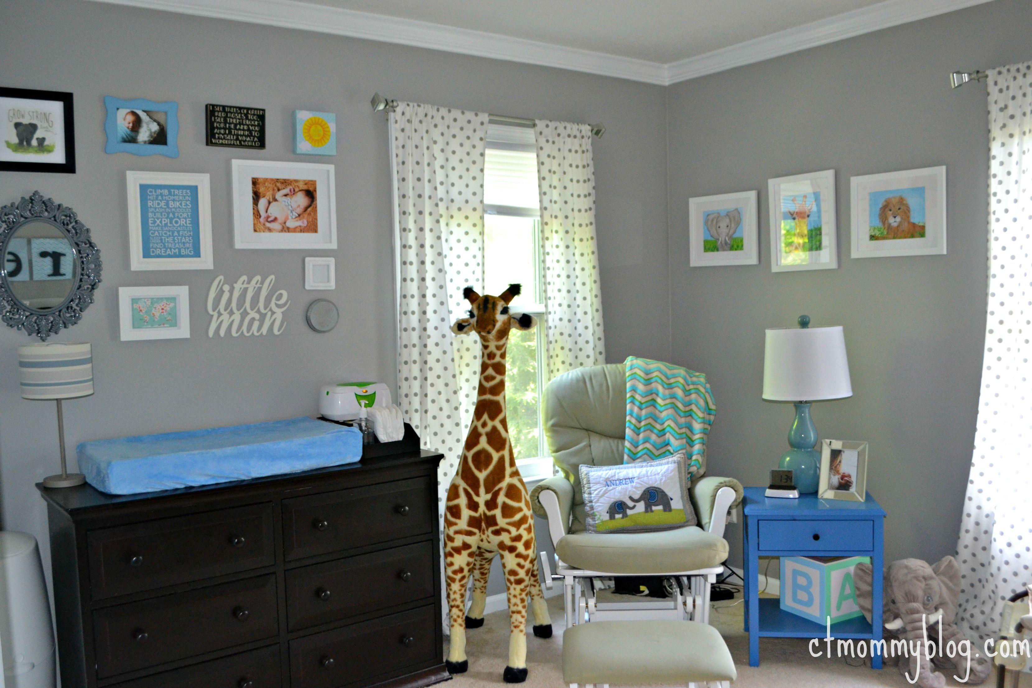 Andrew's Gray Safari Nursery #graystripedwalls