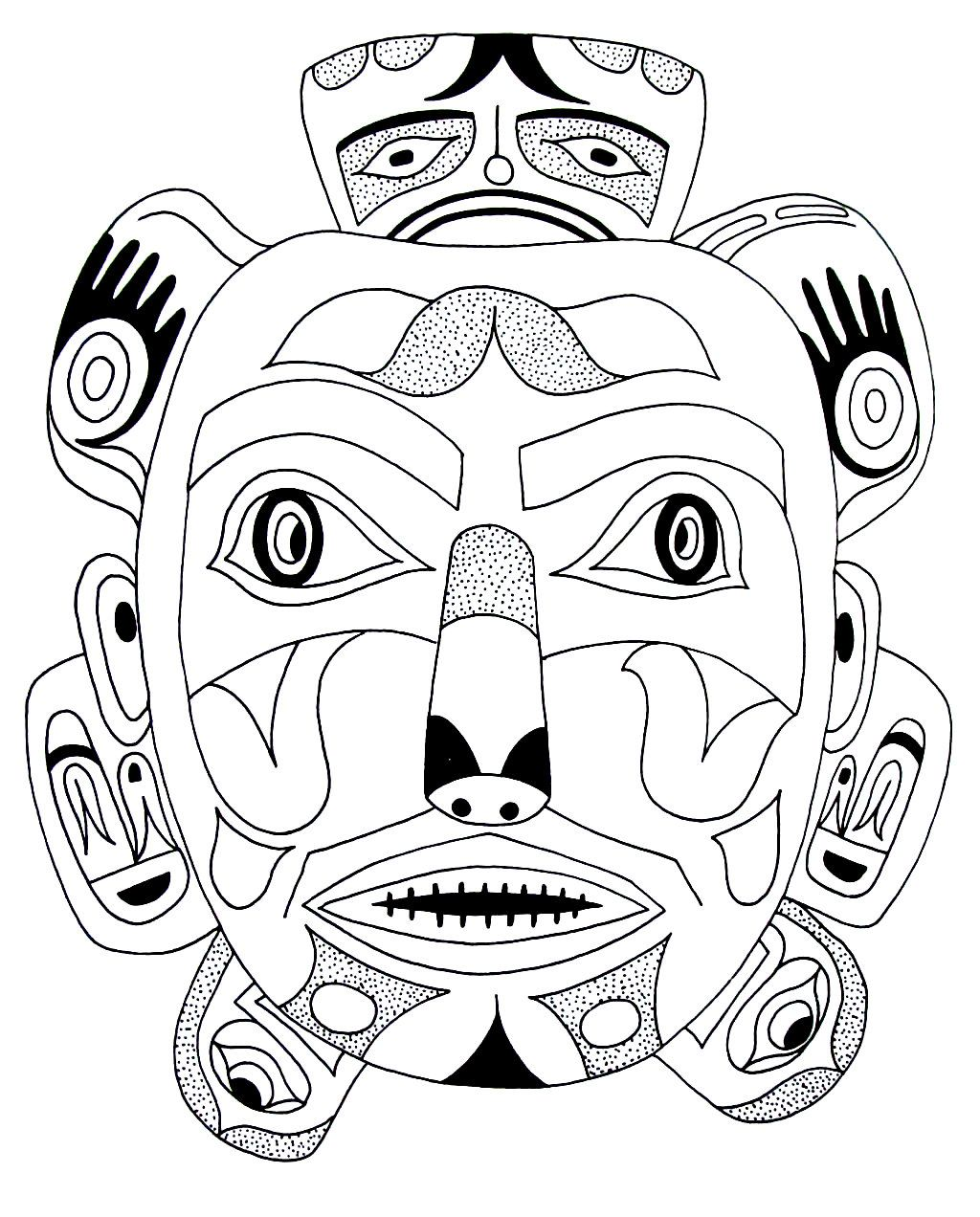 bear mask kwakiuti indian design coloring book page native