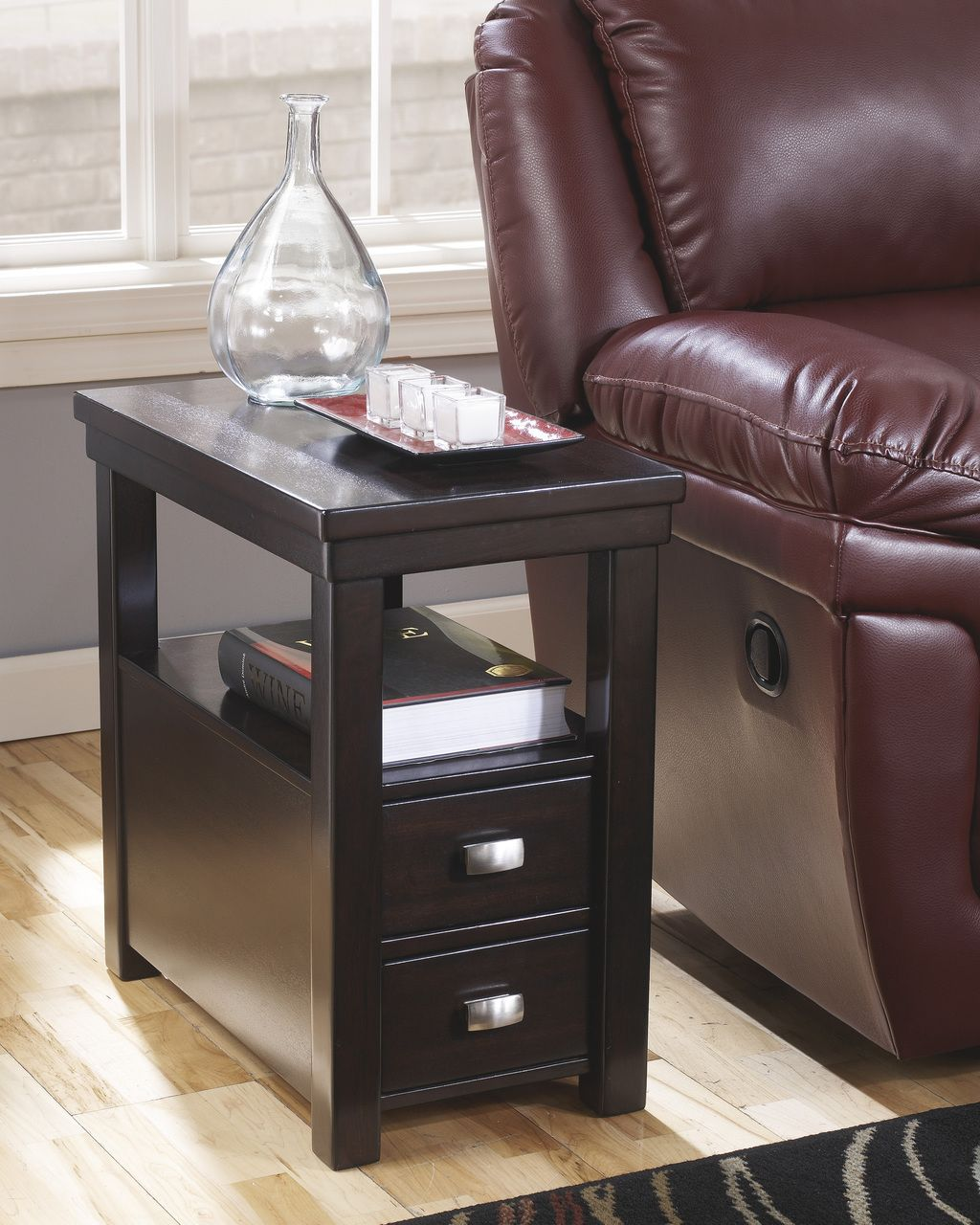 Hatsuko Dark Brown Chair Side End Table Chair Side Table Sofa End Tables Living Room Table Chair side table with drawers