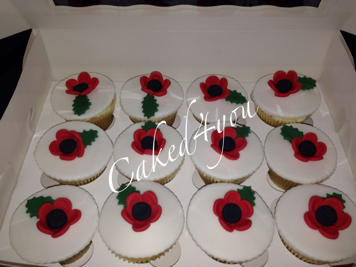 Remembrance Day Poppy themed cupcakes