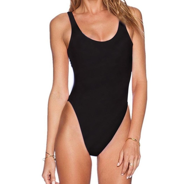 Women Sexy Solid O Neck High Cut One Piece Swimsuit Swimwear Beachwear