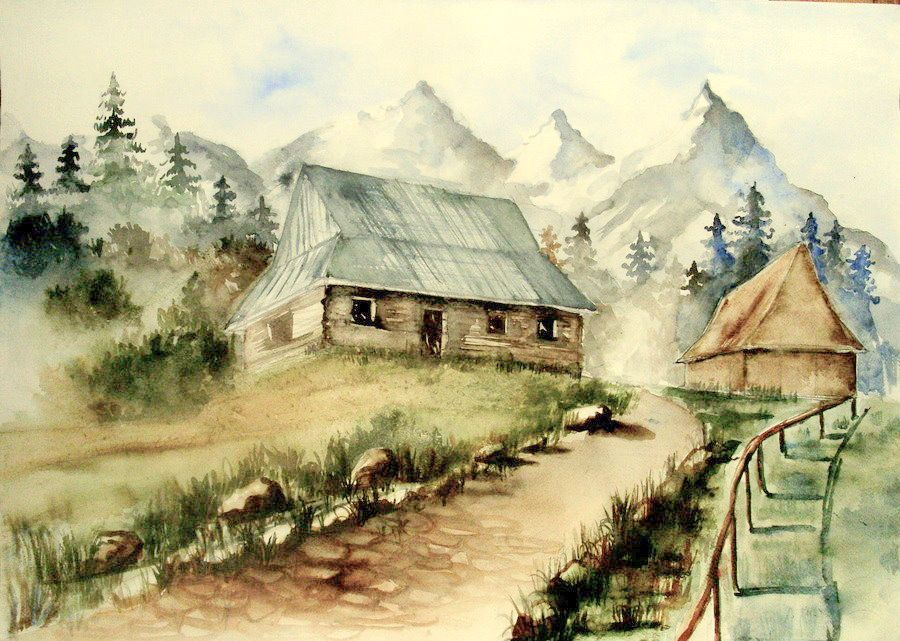 Mountain House By Vanitty Deviantart Com Traditional Color