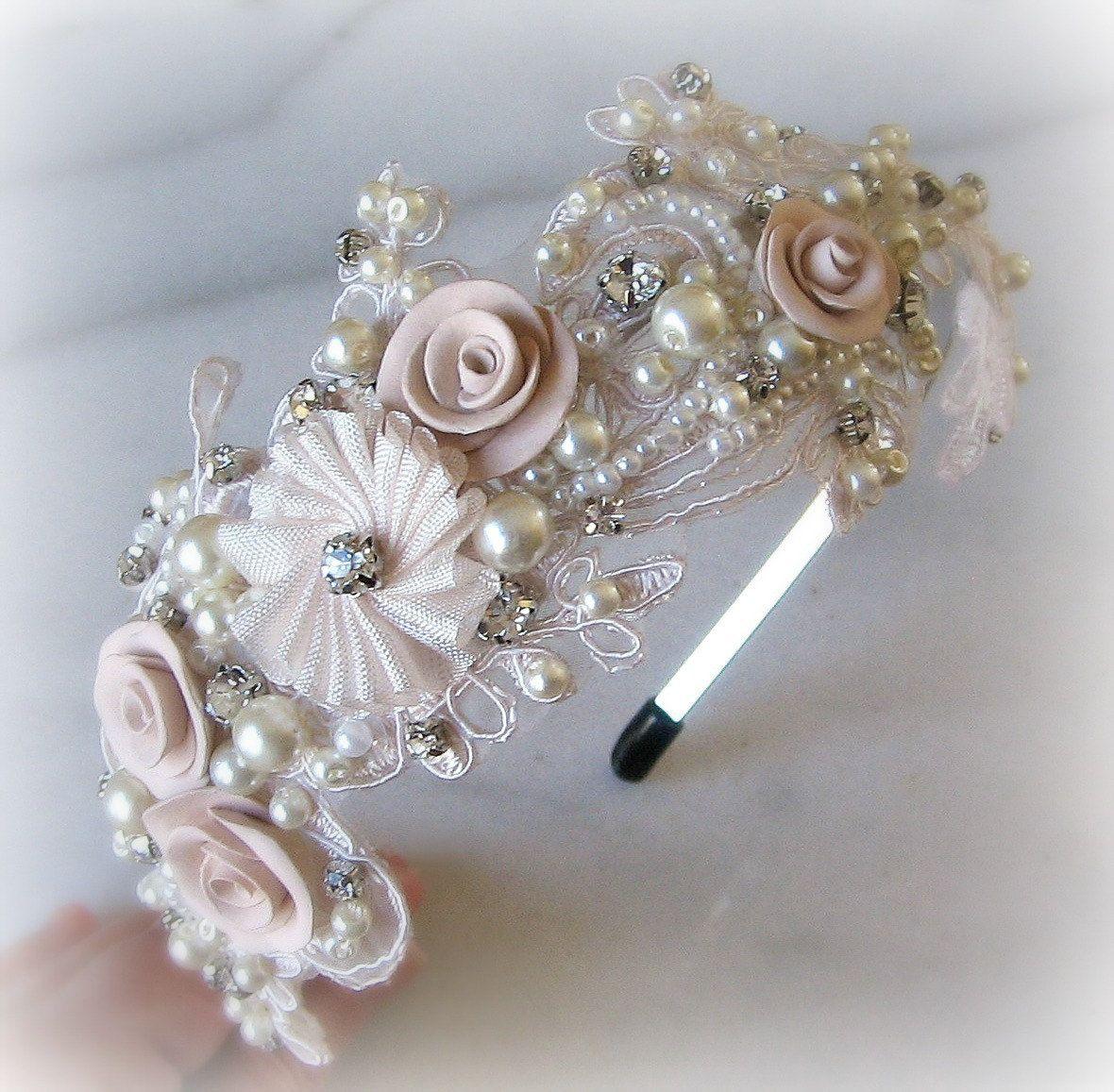 Diadema de encaje con pedrer a y perlas diadema por - Diademas de encaje ...