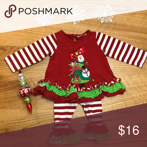 6b1cb9095081 Rare Edirions Christmas Boutique outfit ruffles Adorable Rare Editions  holiday outfit! Stripes, polka dots