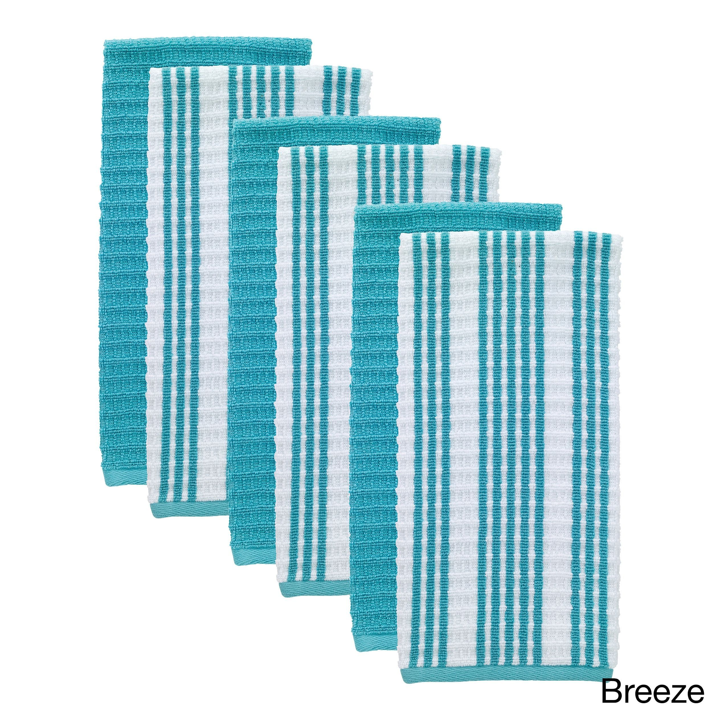 t-fal textiles 6 pack solid & stripe waffle terry kitchen dish towel