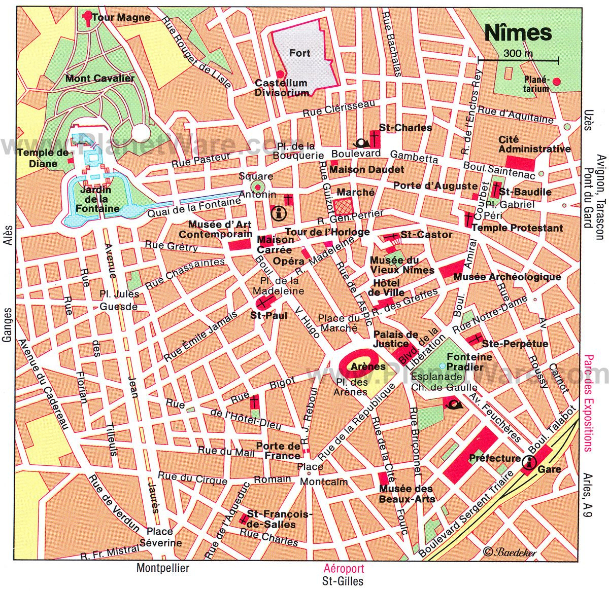 NIMES Detailed Map Tourist Attractions Travel France Lacoste