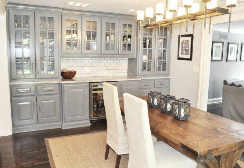 Cuisine gris et bois en 50 modèles variés pour tous les goûts - modele de salle a manger design