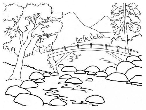 Beautiful River Bank Landscape Coloring Pages Coloring