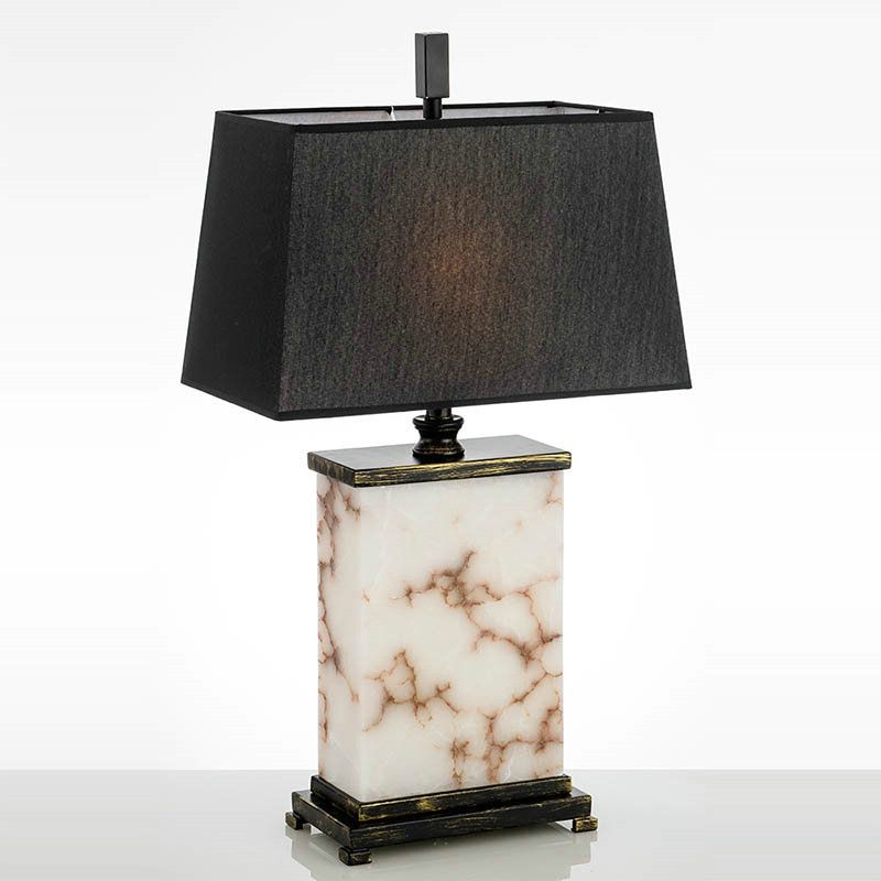 Tischleuchte Modern Mit Marmor Fuss Mit Stoffschirm In Schwarz 1 Flammig Lamp Marble Table Lamp Table Lamp