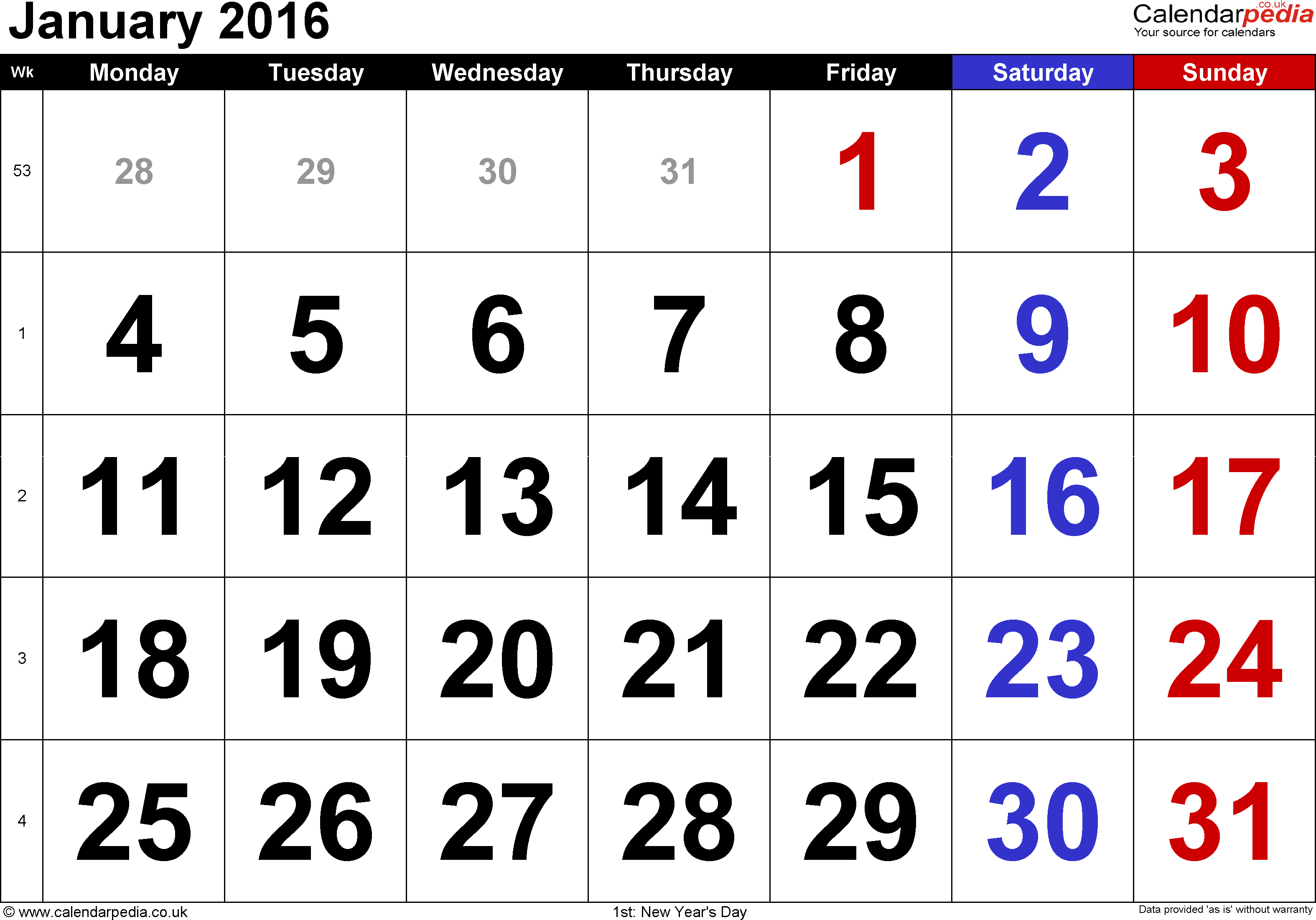 large numerals 1 page with uk bank holidays and week numbers