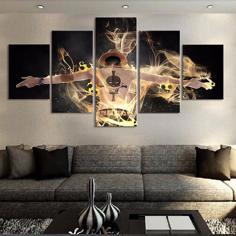5 Panel Canvas Modern Wall Art One Piece Character Monkey D Luffy Paintings Home Decor