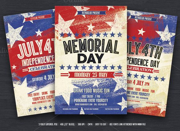 July Th  Memorial Day Flyers  Magazine Layouts And Flyer Template