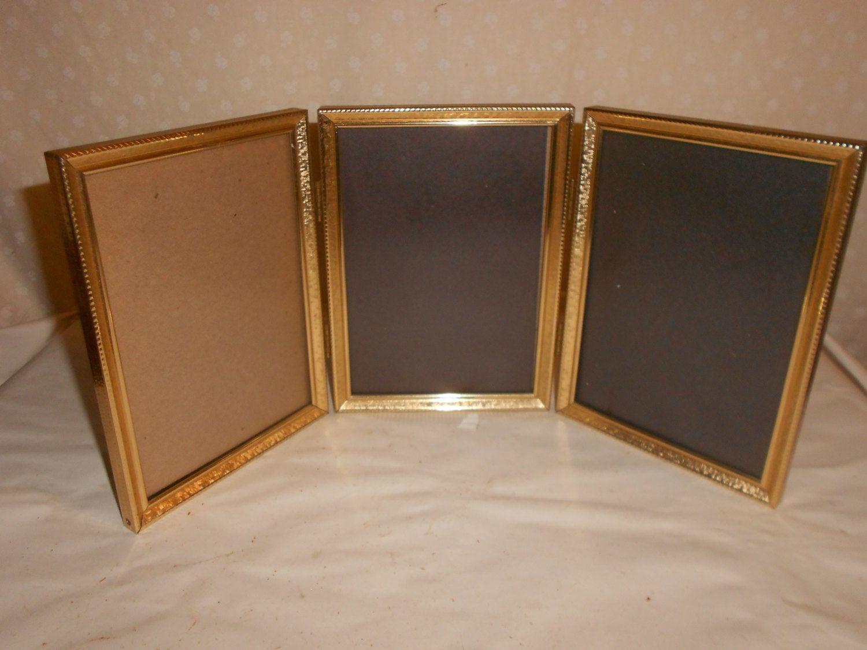 Tri Fold Gold Tone Picture Frames 5 X 7 Glass Tri Fold