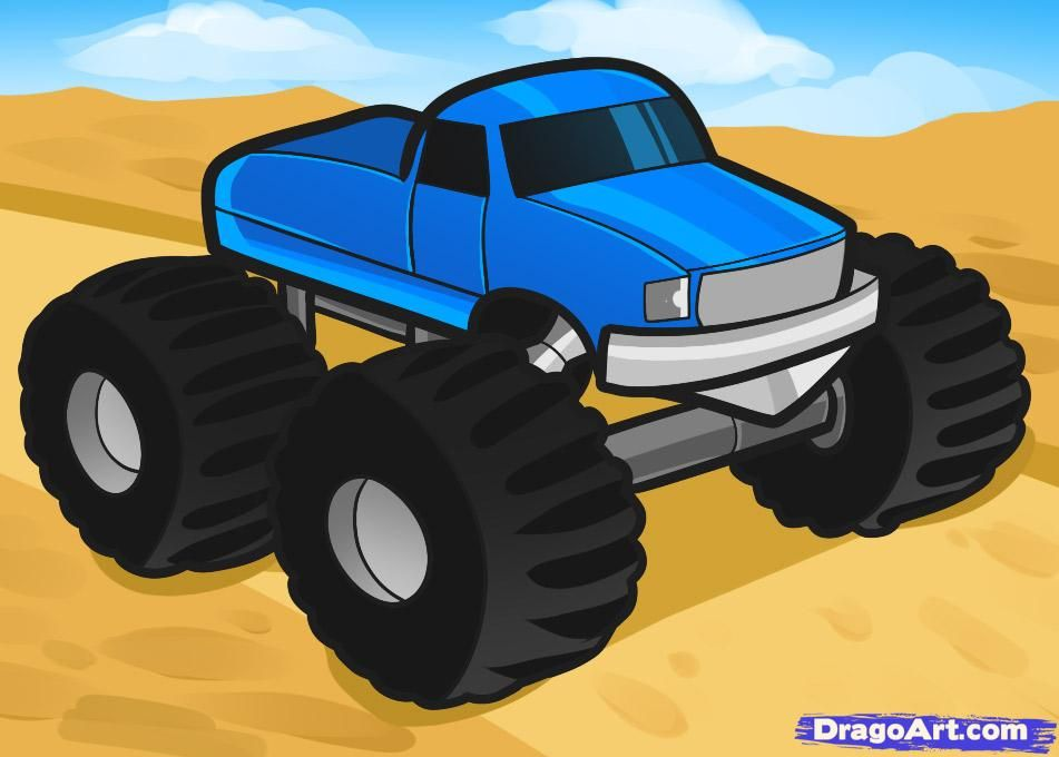 How To Draw A Monster Truck For Kids Paint It Pinterest