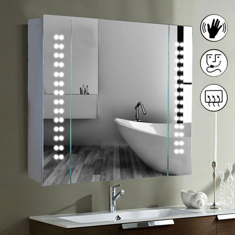 Led Illuminated Bathroom Mirror Cabinet Shaver Demister Sensor Galactic Uk Amazon Co Uk Kitchen Hom Bathroom Mirror Cabinet Bathroom Mirror Mirror Cabinets