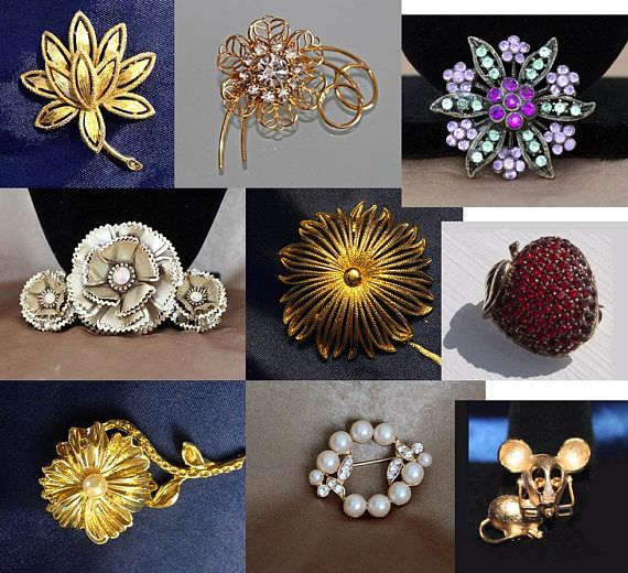 Vintage Monet Brooches Richileu Brooch Avon Brooches