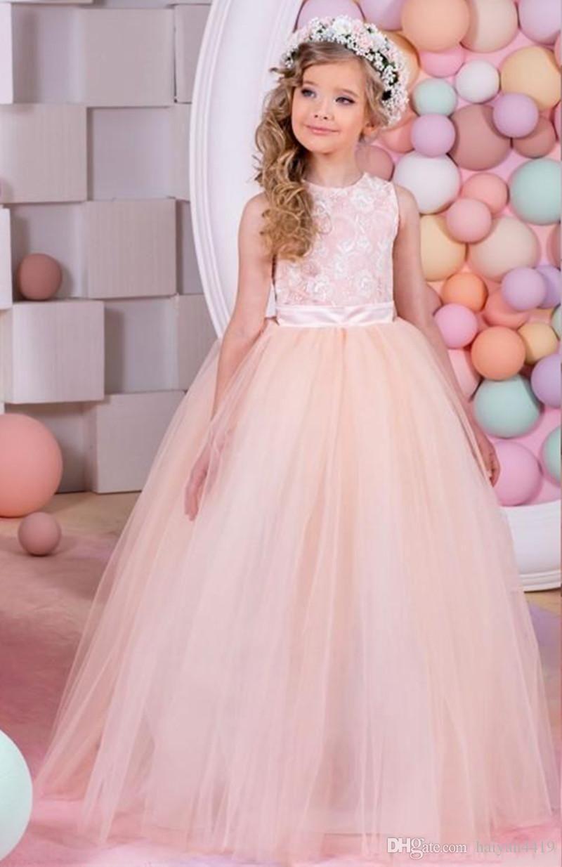 new cheap flower girls dresses for weddings jewel neck blush
