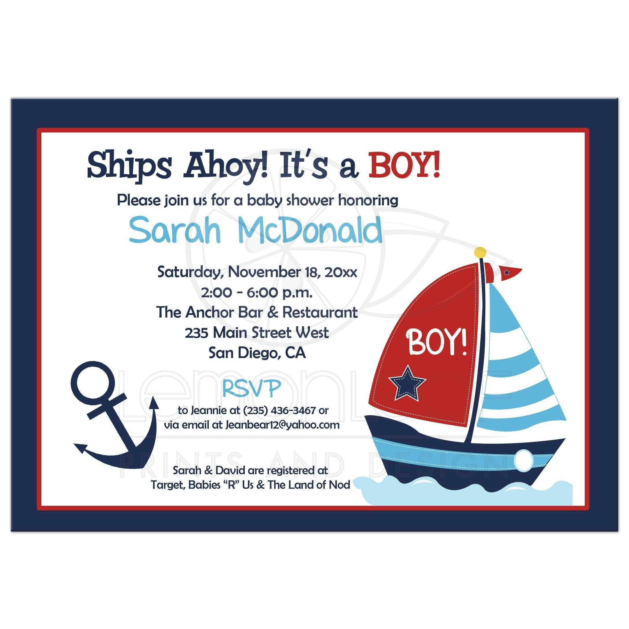 Anchor and Sailboat Nautical Navy and Red Boy Baby Shower Invitation ...