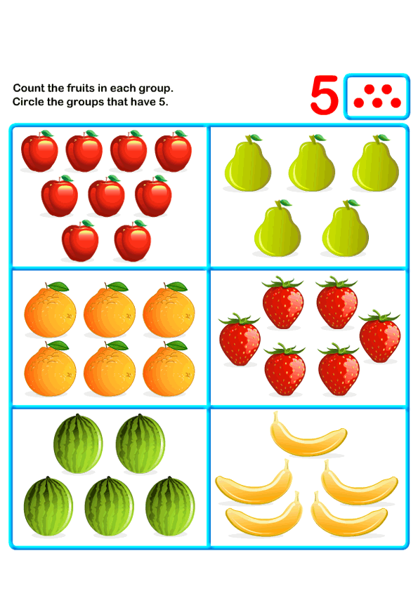 Count Five   k   Kids Learning Games and Worksheets   Free ...