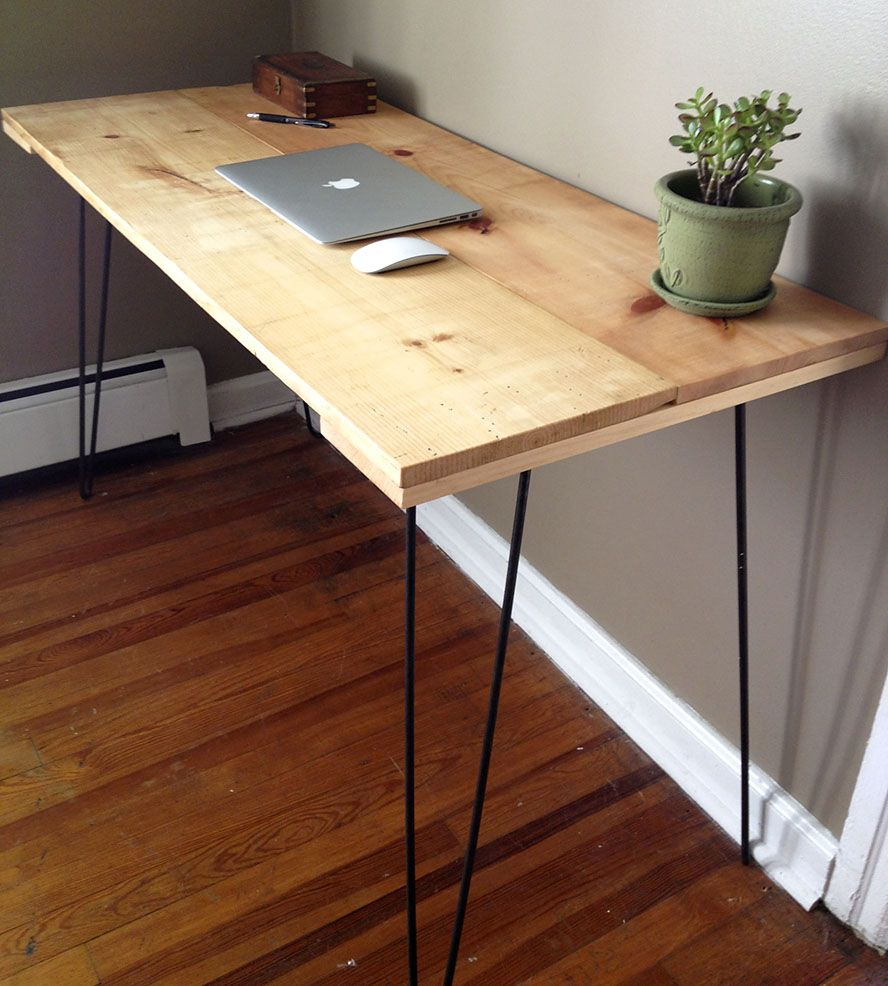 Reclaimed Pine Desk With Hairpin Legs