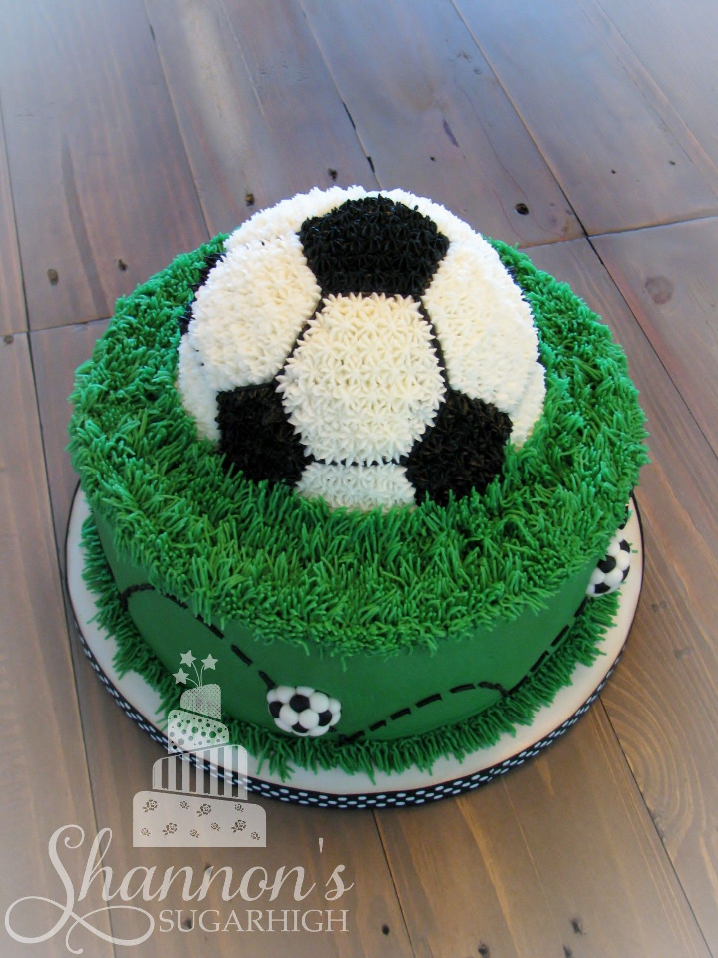 Soccer Ball Cake Top Down Back View With Fondant Accents In White Black And Green Bottom Tier Is A 10 Soccer Birthday Cakes Soccer Cake Soccer Ball Cake