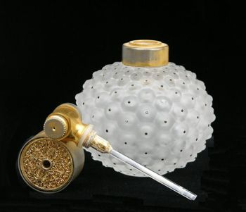 * Lalique and Marcel Franck Perfume Atomizer ~Cactus~, French 11cm , circa 1920's features a stippled frosted glass bottle that looks like a bread fruit with black dots. Signed Laliqe France on bottom.