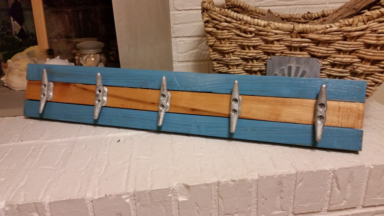 30 Boat Cleat Coat Rack Or Towel Rack With Galvanized Iron Nautical Cleats And Reclaimed Wood Blue By Williswooddesigns Deck Decorating Wood Galvanized Iron