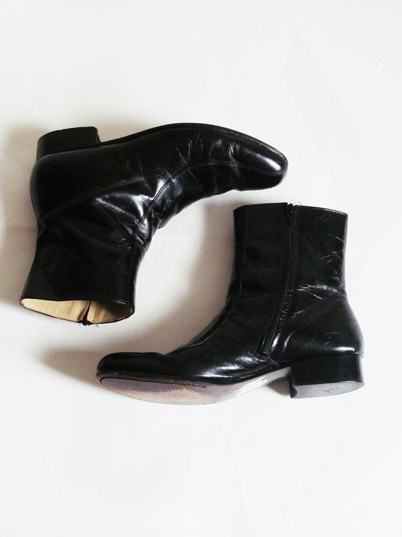 66baabad9c88a Yesterday and Today // Vintage 60s Boots // 1960s Black Leather Mens ...