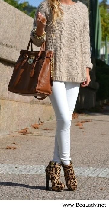 Oversized sweater and leopard pumps fall outfit... Minus the white leggings... I don't like white!! - Tam