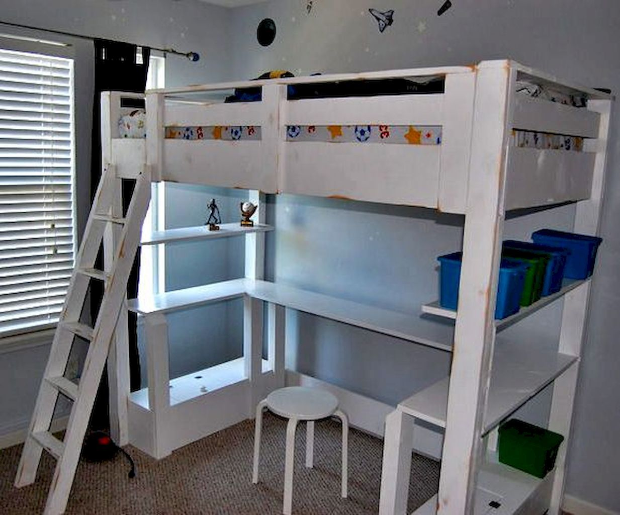 Pin by Kayla on College Build a loft bed, Loft bed desk