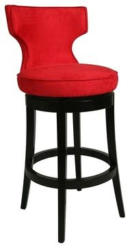 Contemporary Pastel Augusta Red Swivel 30 Quot High Bar Stool