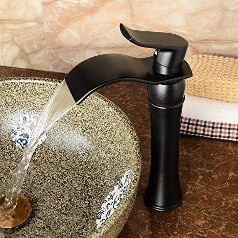 Hiendure®Einhebel  Mischbatterie Wasserhahn Armatur Waschtischarmatur  Wasserfall Einhandmischer Für Bad Waschbecken (hoch)