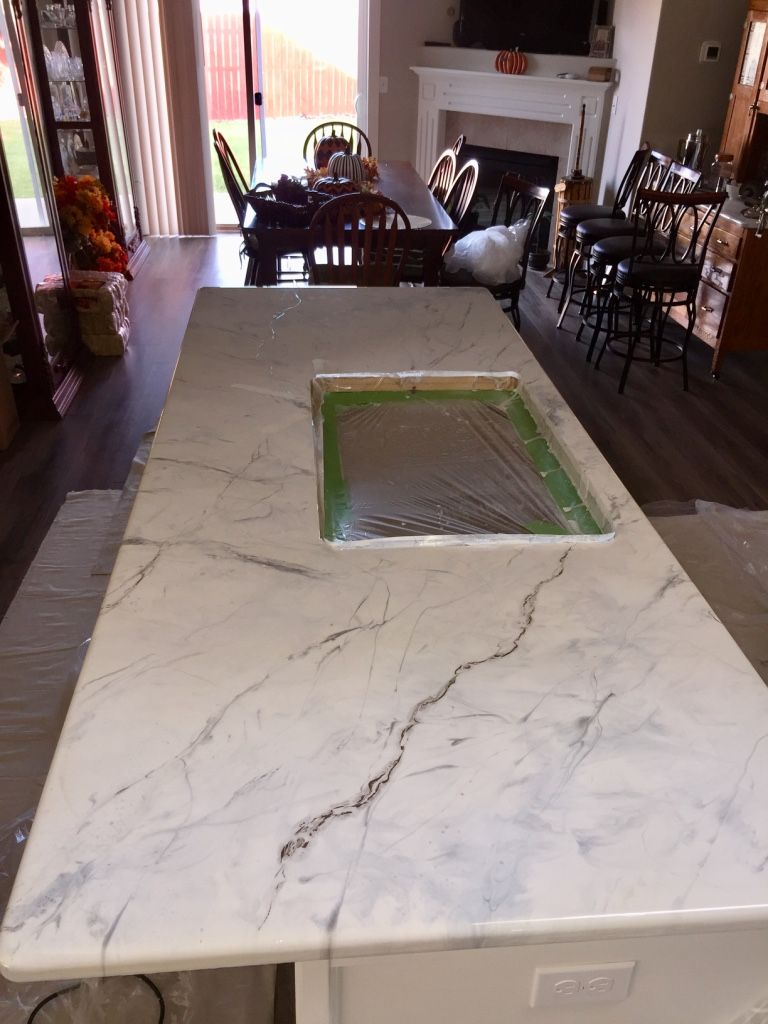 Gorgeous White Marble Epoxy Countertop Island High End Look