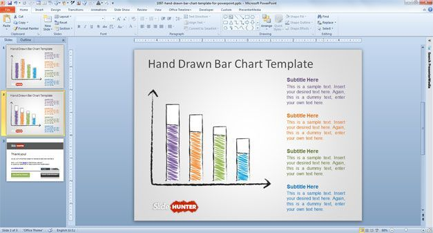 Free Bar Chart Template Powerpoint  Reports     Hand