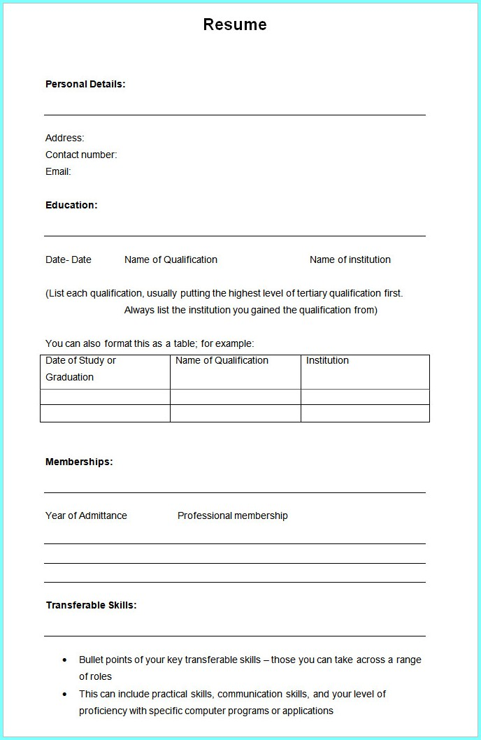 Download Blank Cv Format For Freshers Uncategorized Resume