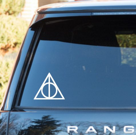 Deathly hallows harry potter car window decal by wastedtalentdesigns on etsy https www etsy com listing 190933688 deathly hallows harry potter car window