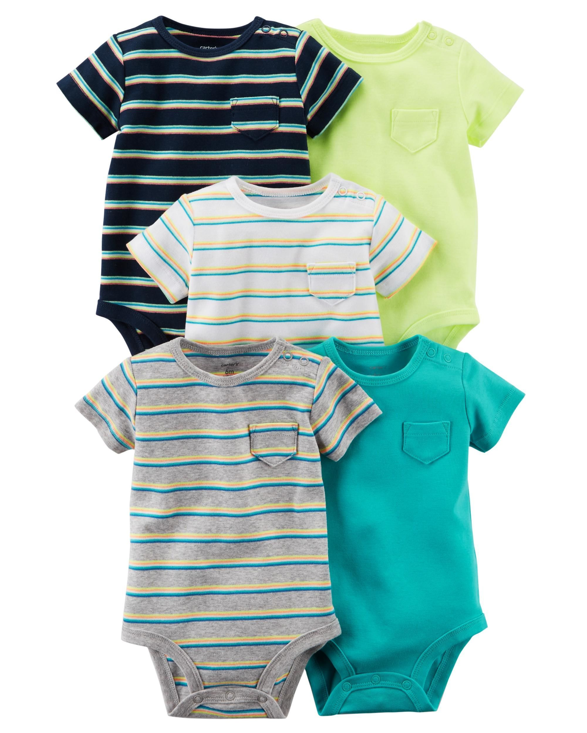 Carters Infant Boys 4-Pack Long-Sleeve Bodysuits Solid Colors NWT snap shirts