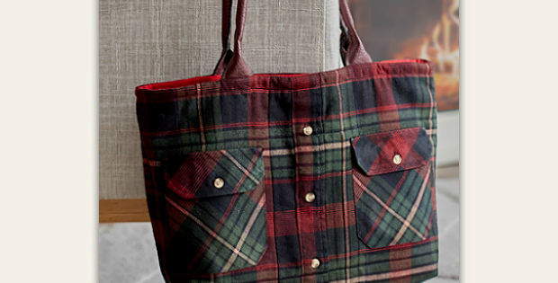 A Flannel Shirt Makes a Charming Tote Tote pattern