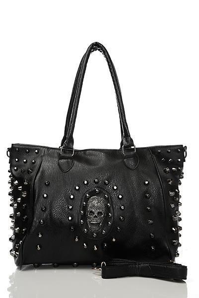 Black Skull And Studs Handbag With