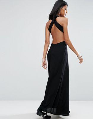 ASOS – Schwarzes Maxikleid aus Knitterstoff mit Rückenausschnitt ...