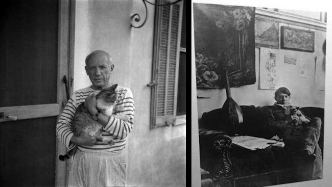 Pablo Picasso with his owners.