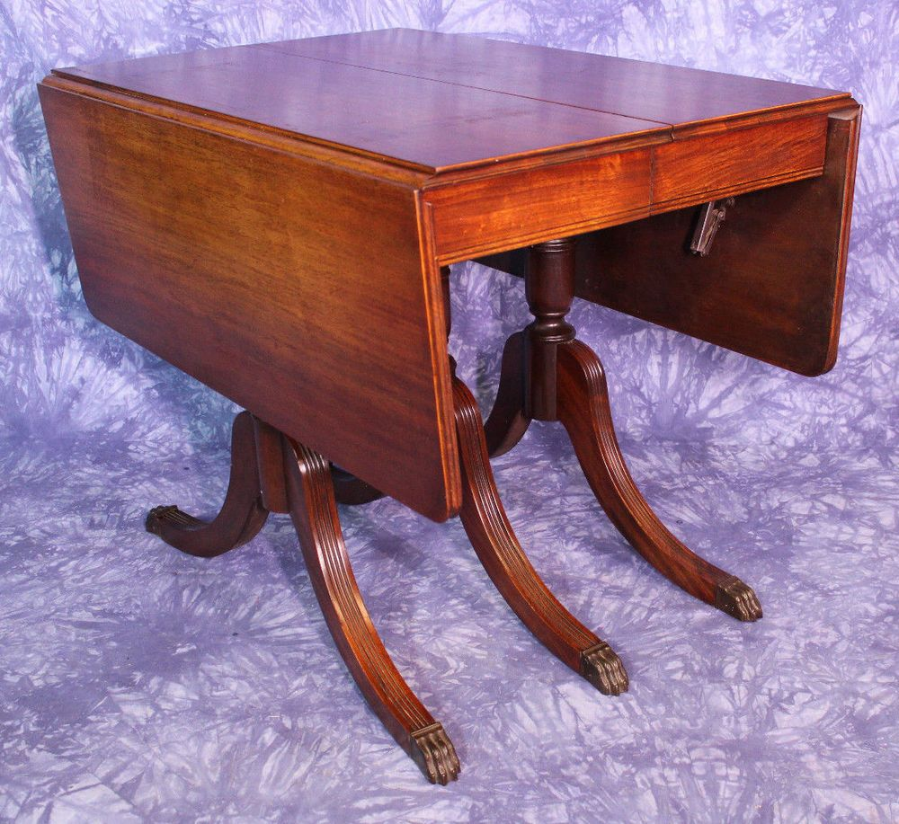 Duncan Phyfe Round Table With Drawer.1930 Duncan Phyfe Antique Mahogany Drop Leaf Dining Table Console